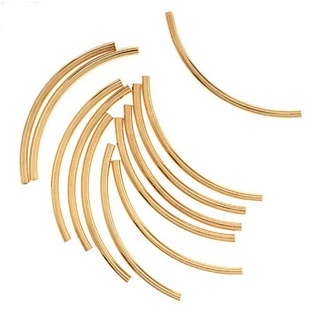 - 22K Gold Plated Curved Noodle Tube Beads 2mm x 38mm (12)
