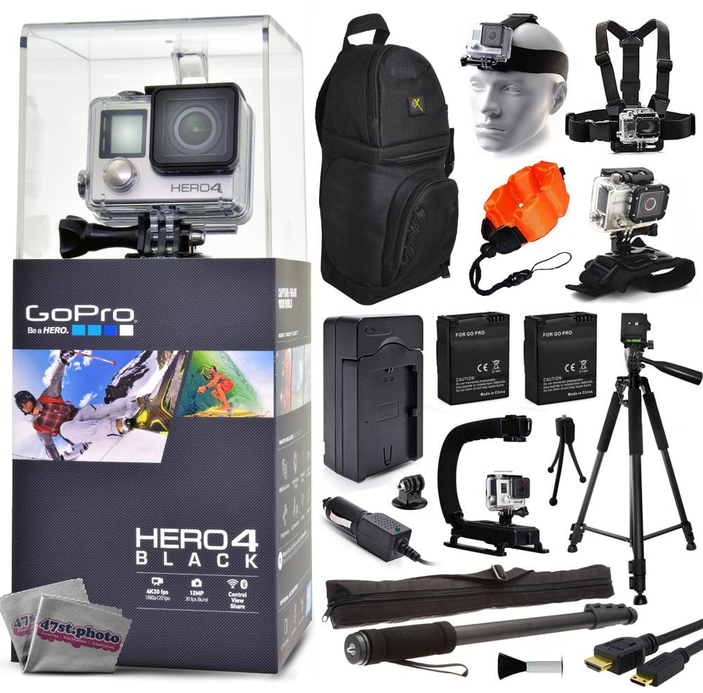 Camara De Video ¿GoPro Hero 4 HERO4 negro CHDHX-401 con cargador + pilas de repuesto (2) + 60 Trípode + 67