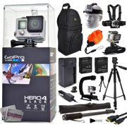 """GoPro Hero 4 HERO4 Black CHDHX-401 with Travel Charger + (2) Extra Batteries + 60? Tripod + 67"""" Monopod + Backpack + Headstrap + Chest Harness Mount + Floaty Strap + HDMI Cable + Wrist Glove Strap"""