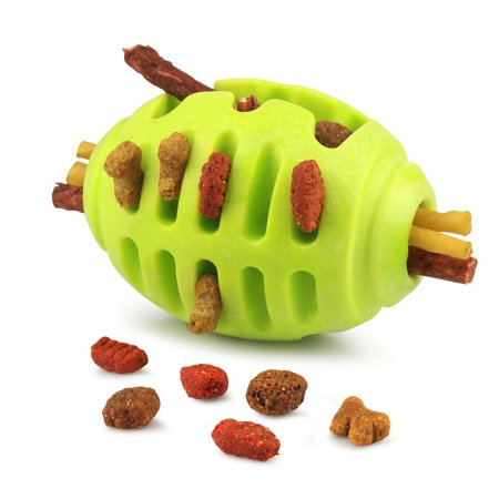 Pet Toys for Dogs by Fluffy Paws Pet Treat Toy Rugby Rubber IQ Treat Chewing Hollow FeedBall for Dog (Dental Treat and Bite Resistant) Non Toxic Strong Tooth Cleaning Training Chewing Playing - Green