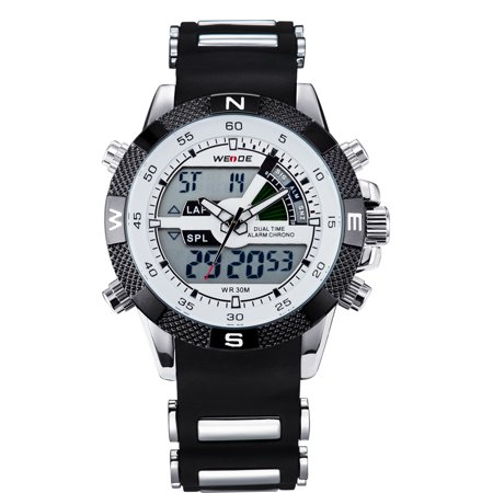 WEIDE WH1104-9C 195191 Sports Analog Digit Dual Time Display Date Week Alarm 3ATM Diver Wrist