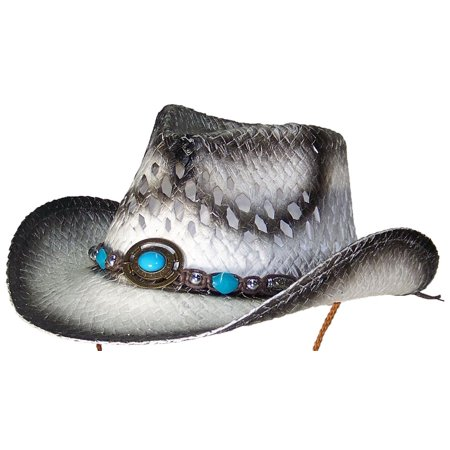 Tropic Hats Little Kids Paper Straw Cowboy/Cowgirl W/Band & Buckle (One Size) - - Black Cowgirl Hat With Rhinestones