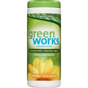 Green Works Natural Household Cleaning Compostable Disinfecting Wipes, Original Fresh Scent, 30 ct