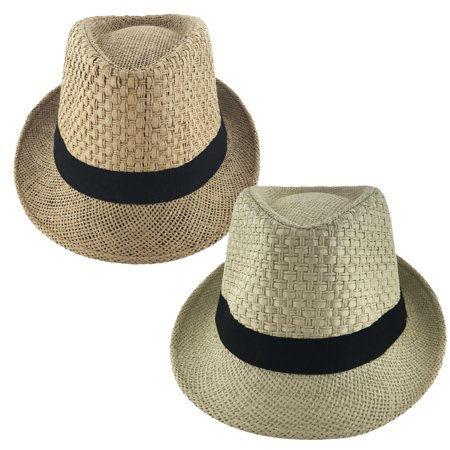 Faddism Unisex Ribbon Cuban Brim Fedora Straw Hat Model 212