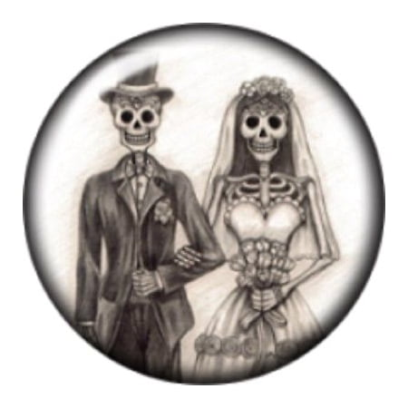Snap button Halloween Skeleton Wedding Couple 18mm Cabochon chunk charm (Chunk Ideas Halloween)