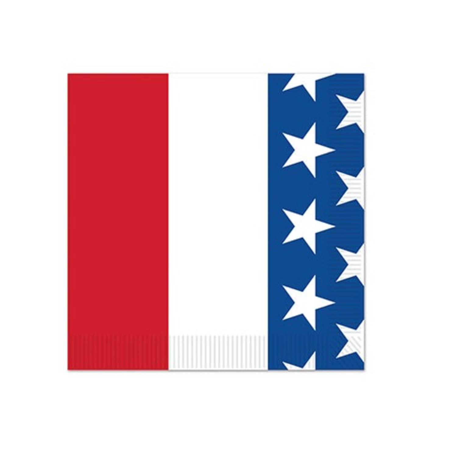 Cub Pack of 192 Red, White and Blue with Stars Patriotic Beverage Napkins by Party Central