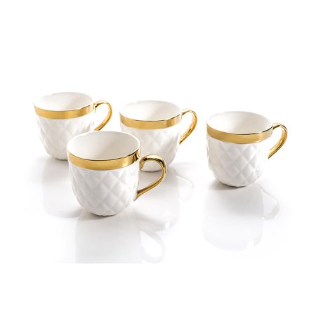 Yedi Houseware Quilted Collection Large Mugs Set for 4, White & Gold ...