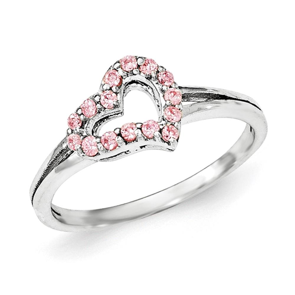 925 Sterling Silver Polished Round Cut Pink CZ Heart Ring Size 8