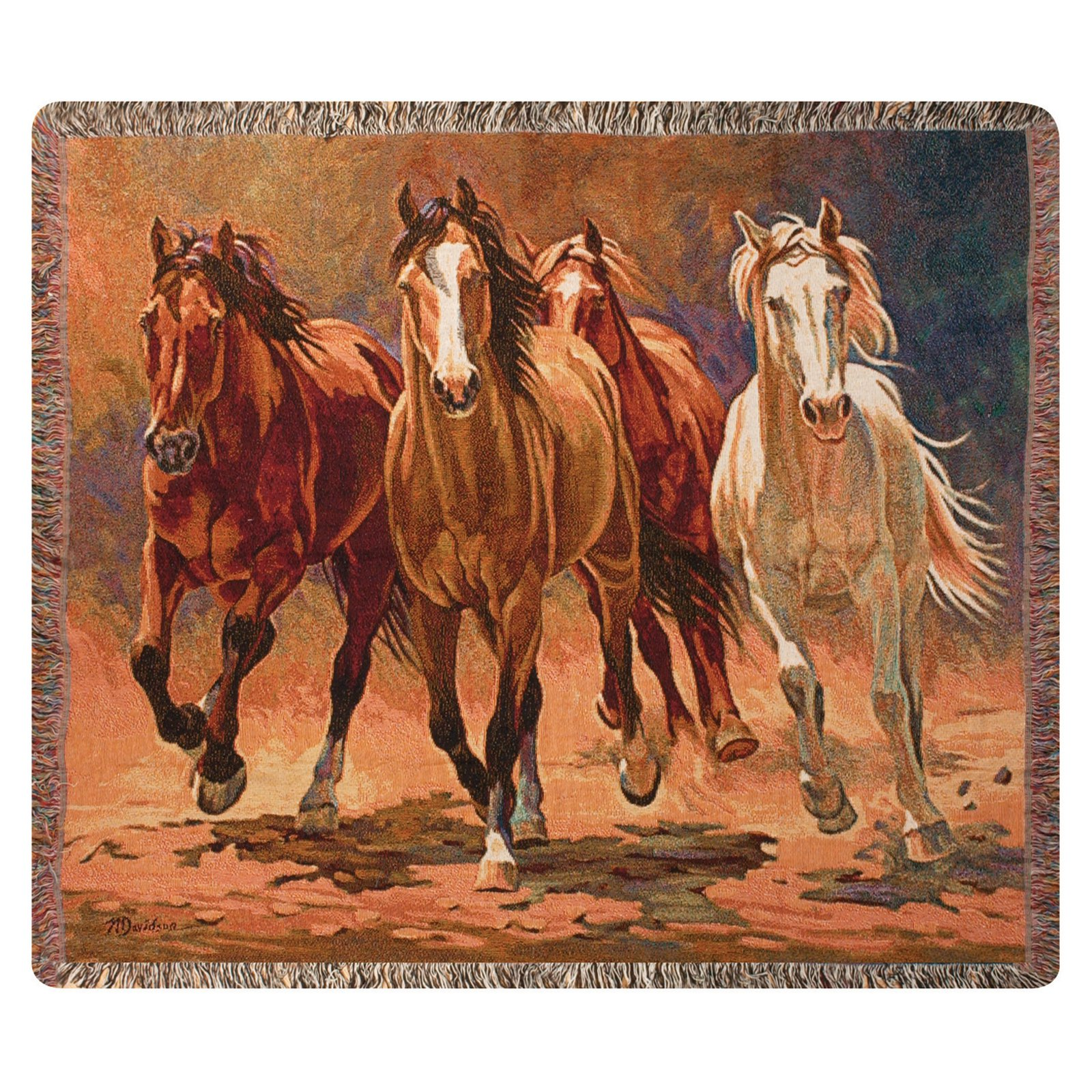 Manual Hoofbeats and Heartbeats Tapestry Throw