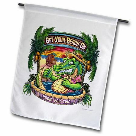 3dRose Crocodile on a Tropical Beach in a Hot Tub Polyester 1'6'' x 1' Garden Flag