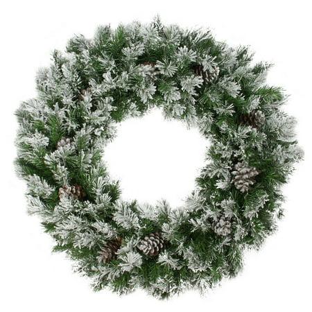 Northlight 36 in. Flocked Angel Pine with Pine Cones Unlit Wreath