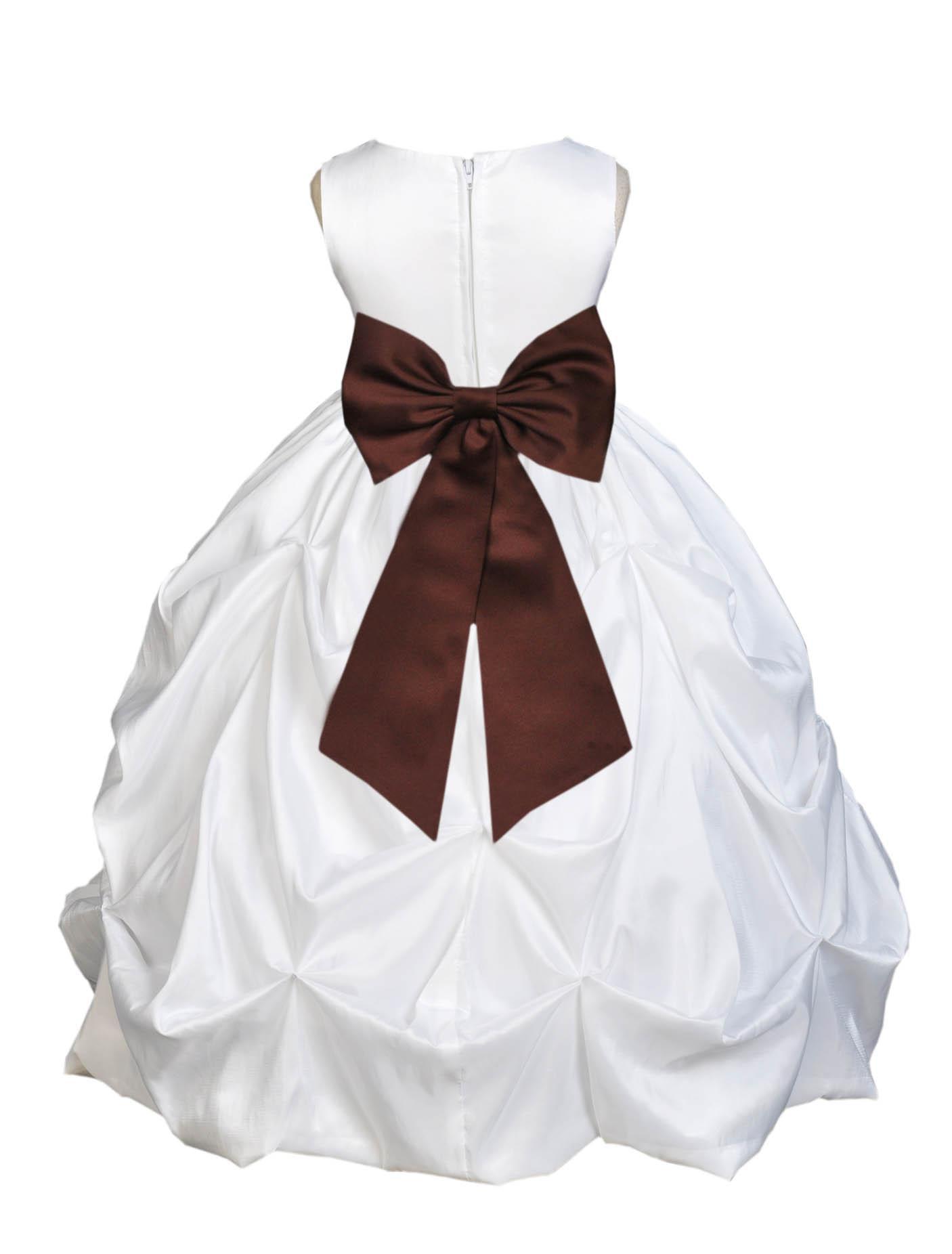 Ekidsbridal Formal Satin Taffeta White Flower Girl Dress Bridesmaid Wedding Pageant Toddler Recital Holiday Communion Birthday Baptism Occasions 301T