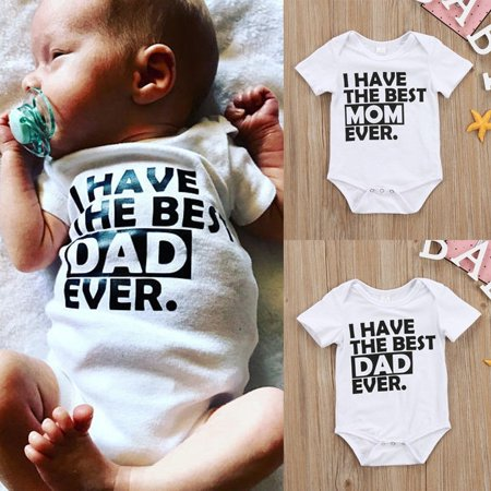 Best Daddy Mommy Newborn Infant Baby Boys Girls Summer Romper Bodysuit Jumpsuit Clothes