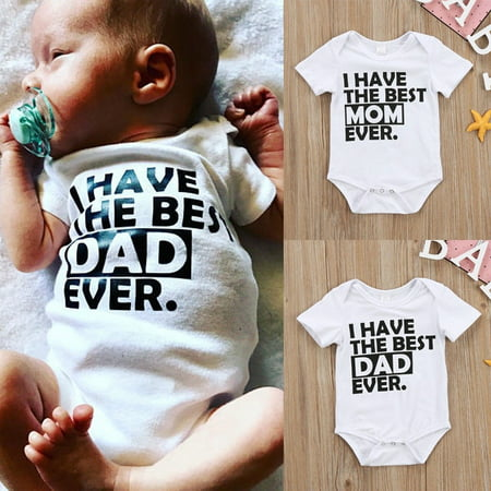 Best Daddy Mommy Newborn Infant Baby Boys Girls Summer Romper Bodysuit Jumpsuit Clothes Outfits