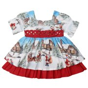 Baby Girls Christmas Dress Santa Claus Print Ruffle Layered Dress Big Bowknot 18-24M
