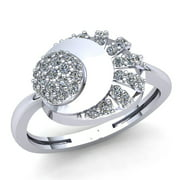 0.33ctw Round Brilliant Cut Ladies Vintage Fancy Engagement Anniversary Ring Solid 10K Rose, White o