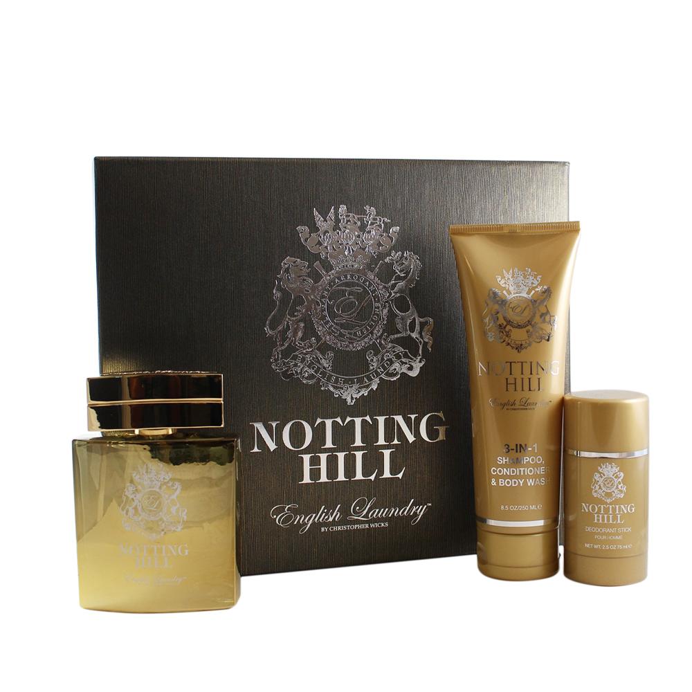 Notting Hill 3 Pc. Gift Set ( Notting Hill Eau De Parfum Spray 3.4 Oz & 3-in-1 Shampoo/conditioner/body Wash 8.5 Oz + English Laundry Deodorant Stick 2.5 Oz ) for Men