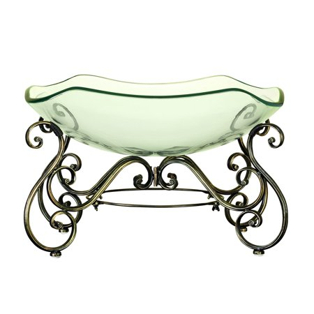 Decmode Traditional 14 X 21 Inch Iron And Glass Ornate Scrollwork Bowl With Stand