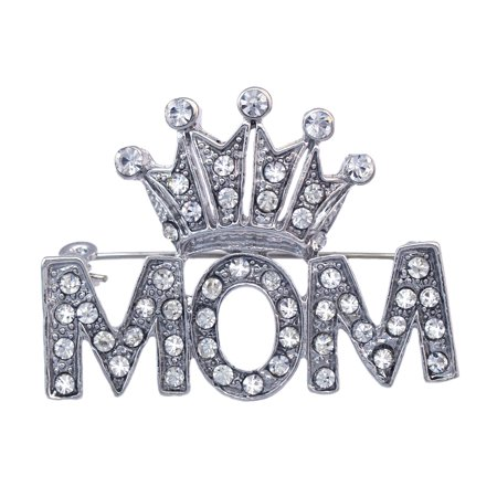 cocojewelry Crown Tiara Queen MOM Word Brooch Pin Mother's Day Birthday Gift