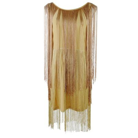 S/M Fit Womens Long Trim Decoration Inner Sleeveless Midi Dress Gold ()