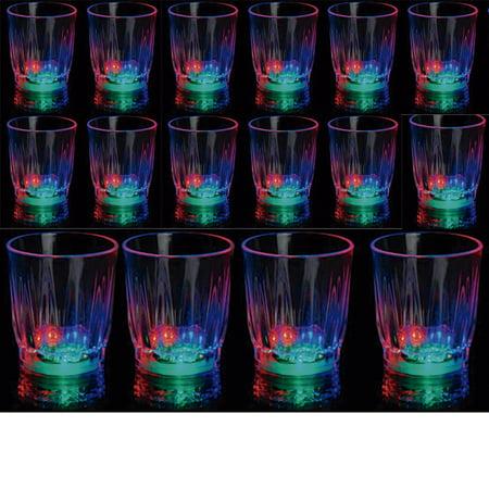 24 Light-Up Shot Glasses LED Flashing Drinking Blinking Barware Party Glass Lot - Flashing Shot Glasses