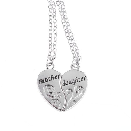 Mother Daughter Silver Tone Tarnish Resistant Two-Piece Heart Necklace Friends Forever Pendant, (Silver Confirmation Heart)