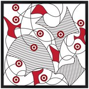 "Artisan 5 Red Fusion 26"" Square Black Giclee Wall Art"