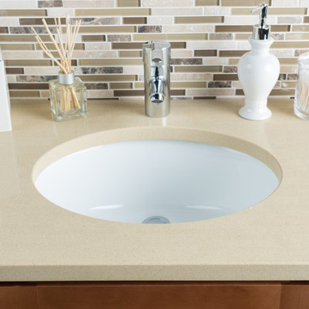Hahn Ceramic Oval Undermount Bathroom Sink with (Overflow Corner)