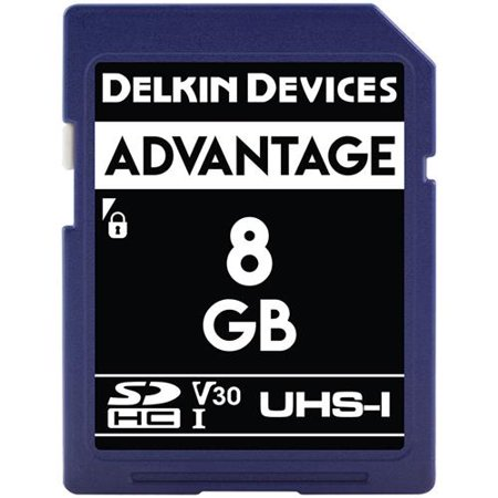 Delkin Devices Advantage 8GB UHS-I Class 10 U3 V30 SDHC 633x Memory Card Delkin Devices Secure Digital Card