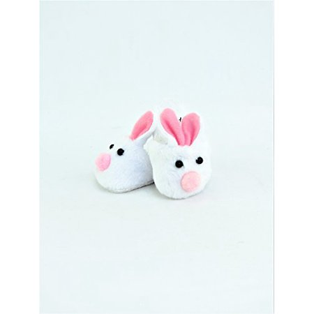 Pink & White Bunny Slippers - Fits 18