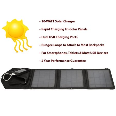 2 Solar Charger - Opteka SP-10W Universal 10-WATT Triple-Panel Rapid Solar Charger with 2 USB Ports for 47st Photo Kindle Fire, Fire HD, Paperwhite, & Ink Tablets