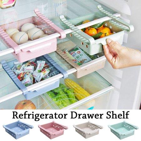 Fridge Drawer Organizer, Unique Design Pull Out Bins, Fridge Shelf Holder Storage Box, Small Size (Fridge Organizers)