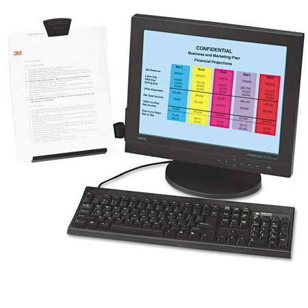 Monitor Mount Document Copy Holder, Holds Documents at Eye Level Off the Desk, Adjustable Clip Holds Paper in Portrait or Landscape, Mounts with Command.., By 3M