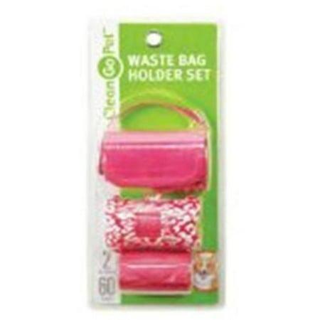 Clean Go Pet, Safari Waste Bag Holder Set, Pink (Go Go Pets Set)