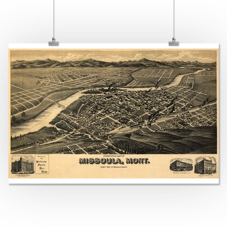 Missoula Mt Panoramic Map 1891 16x24 Giclee Gallery Print Wall Decor Travel Poster