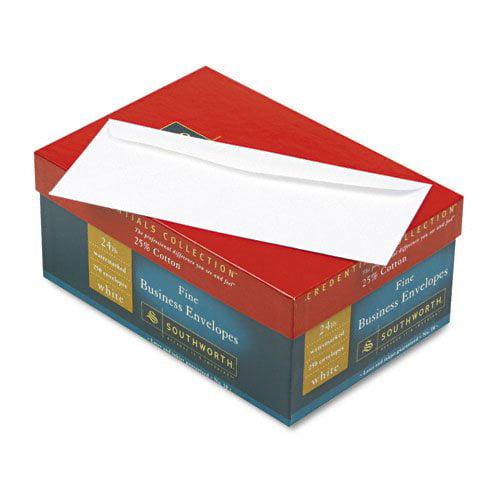 """Southworth Business Envelope - Business - #10 [4.13"""" X 9.50""""] - 24 Lb - Gummed - Cotton Fiber - 250/box - White (J40410)"""