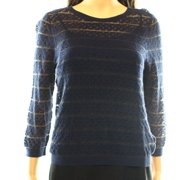 Chelsea28 NEW Blue Navy Women's Size Small S Sheer Striped Knit Blouse