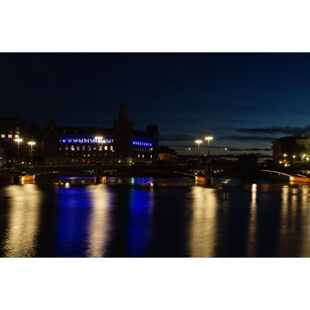 Laminated Poster Night Bridge Lighting Stockholm Sweden River Poster Print 11 x 17 17 Phillip Rivers Light