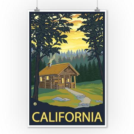 Cabin Scene - California - Lantern Press Original Poster (9x12 Art Print, Wall Decor Travel (Cabin Scene)