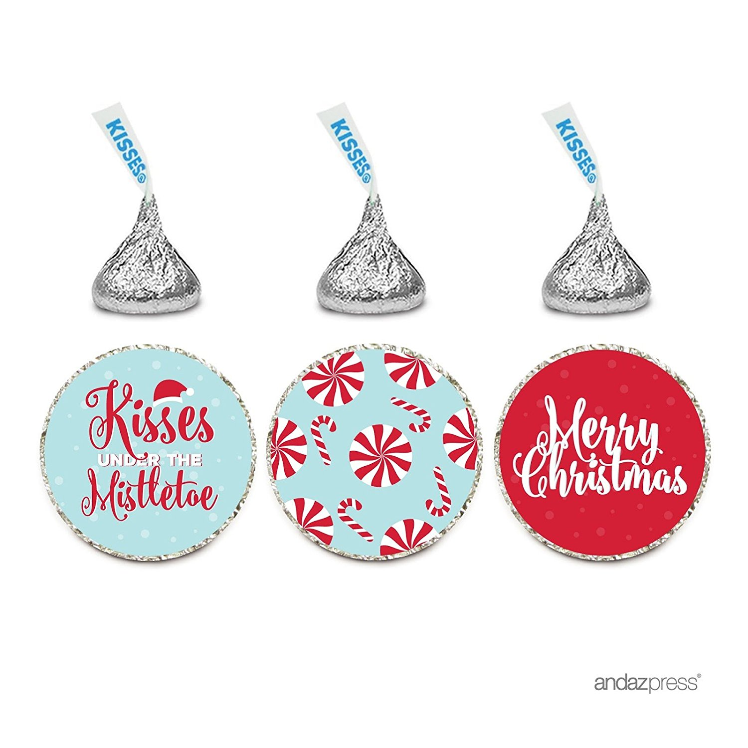 Chocolate Drop Labels Trio, Fits Hershey's Kisses Party Favors, Merry Christmas, 216-Pack, Envelope Seals Stickers