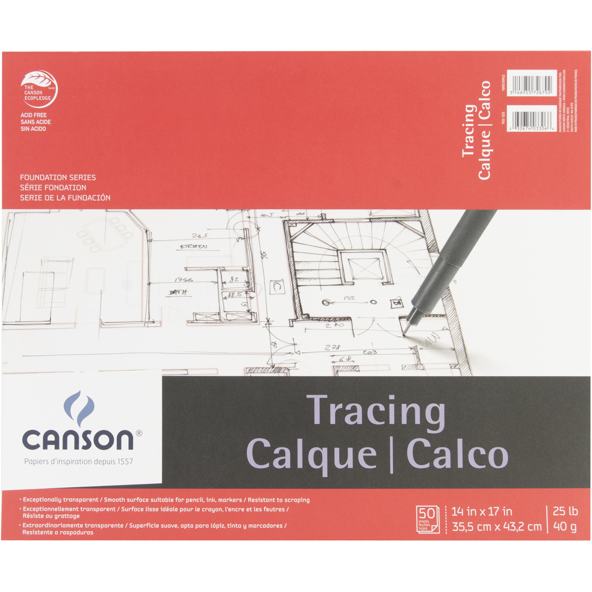 "Canson Foundation Series Tracing Paper Pad 14""x17"", 50 sheets"