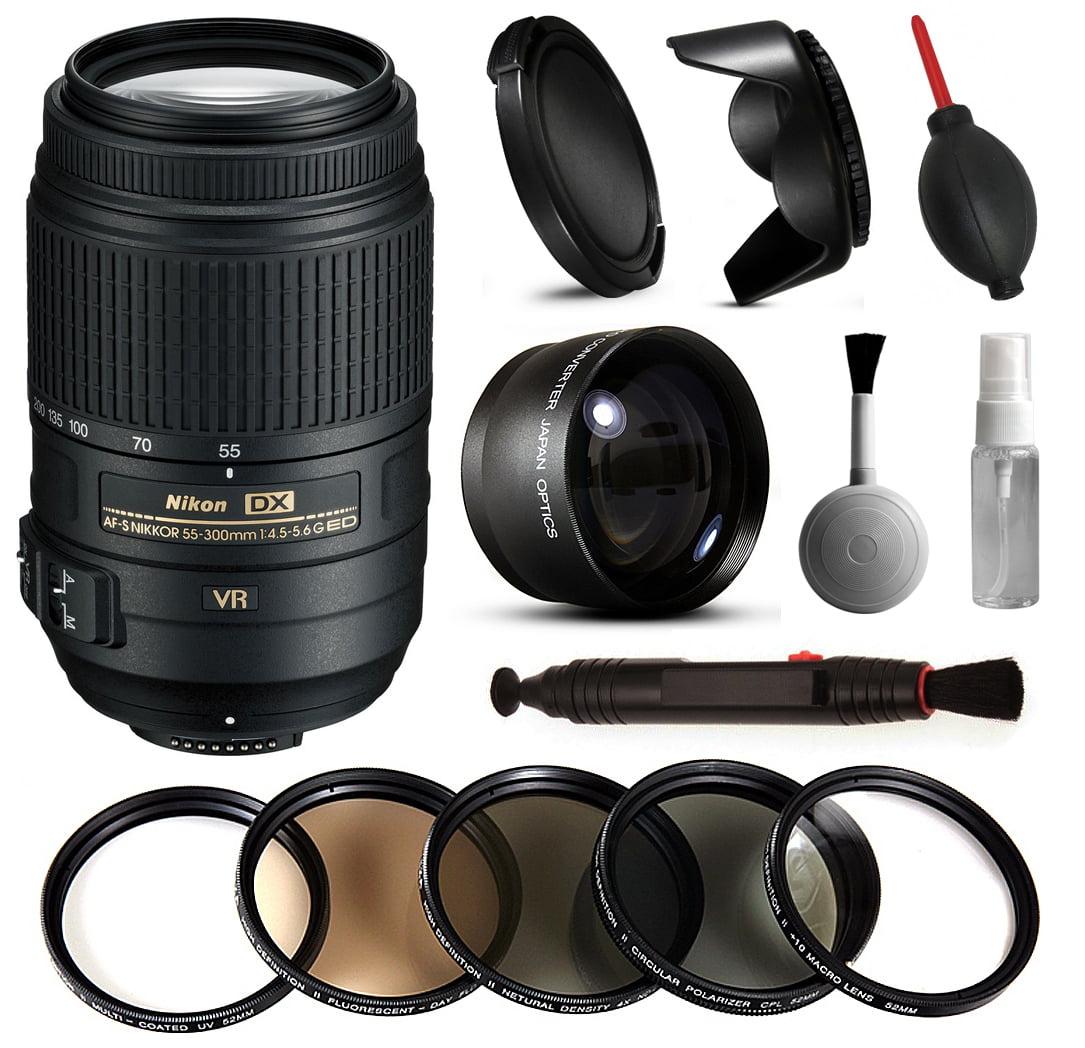 Nikon 55-300mm VR Lens 2197 + Beginner Accessories Bundle includes 5 Piece Filter Set + 2.2x Adapter for Nikon DF D7200 D7100 D7000 D5500 D5300 D5200 D5100 D5000 D3300 D3200 D3100 D3000 D300S D90