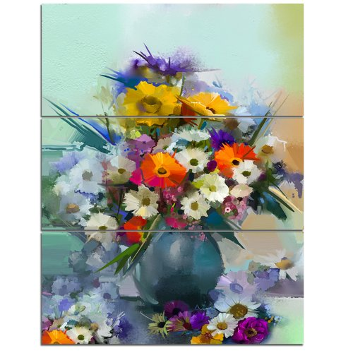 Design Art 'Hand-Painted Bunch of Small Flowers' 3 Piece Painting Print on Wrapped Canvas Set