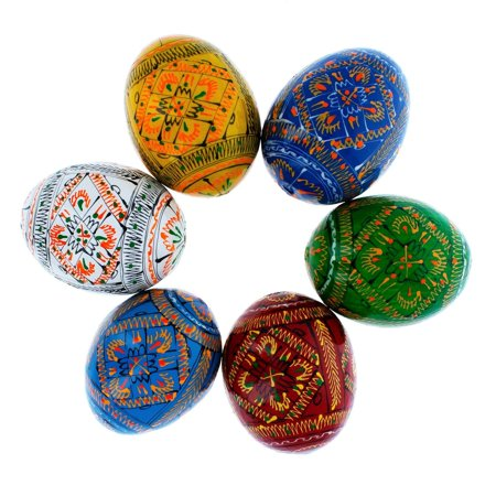 Set of 6 Geometric Ukrainian Pysanky Wooden Easter Eggs 2.25 - Ukrainian Easter Egg Patterns