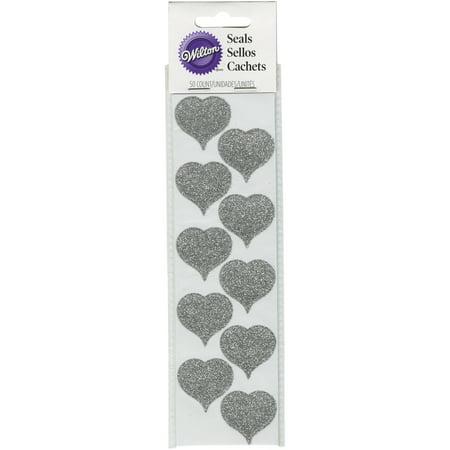 Seals 50/Pkg-Silver Glitter Heart - Heart Glitter