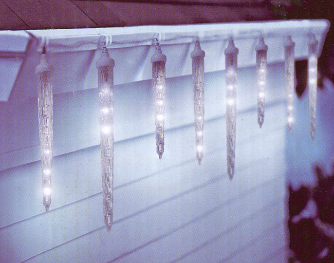 Set of 10 Clear LED Dripping Icicle Christmas Lights - White Wire ...