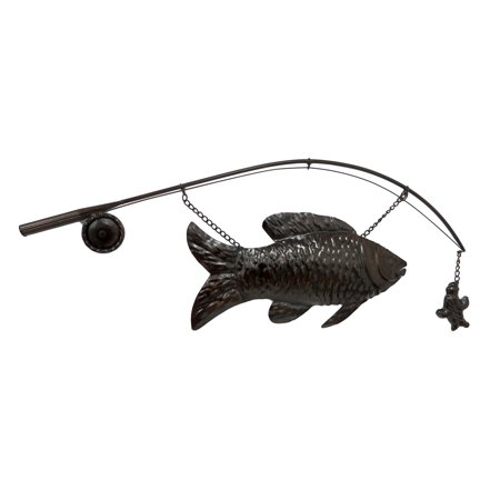 Large Metal `Catch of the Day` Fish and Pole Decorative Wall Sculpture - Metal Fish Sculpture