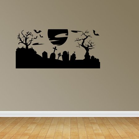Wall Decal Quote Halloween Scene Spooky Halloween Cemetery Scene Bats Tombstones Decorations Wall Decal Sticker Vinyl JP659 - Work Related Halloween Quotes