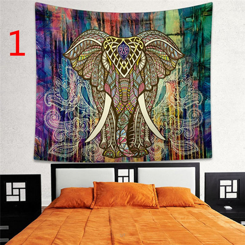 Indian Decor Mandala Tapestry Wall Hanging Hippie Throw Bohemian Dorm Bedspread Table Cloth Curtain Style:Colorful elephant Size:150 * 130cm