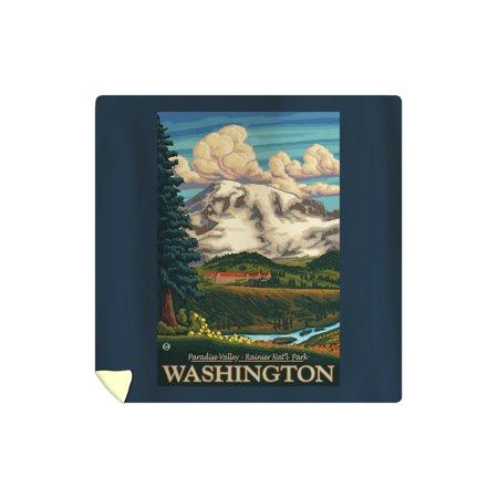 Mt Rainier, Washington - Paradise Inn - Lantern Press Artwork (88x88 Queen Microfiber Duvet Cover)